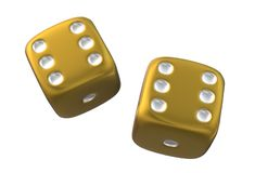 A roll of double six on the dice - bulls eye. A computer generated illustration image of a roll of double six on the dice - bulls eye vector illustration