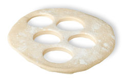 Roll dough with hole cut out Stock Photography