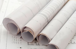 Roll of drawing plans Stock Photo