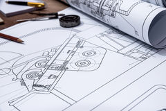Roll of drawing plans Royalty Free Stock Photo