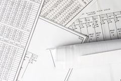 Roll of drawing and schemes Stock Photo