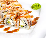 Roll with eel on a plate Royalty Free Stock Images