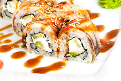 Roll with eel on a plate Stock Photo