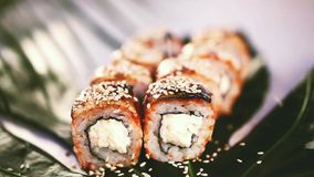 Roll with eel, shrimp, sesame on a tropical leaf watered unagi sauce closeup. Roll with eel, cheese and cucumber on a tropical leaf watered unagi sauce closeup stock video footage