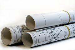 Roll of Engineering Drawings Royalty Free Stock Photography