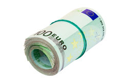 Roll of euro. Roll of hundred euro isolated on white Stock Photo