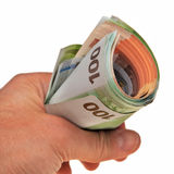 Roll of Euro banknotes. Stock Image