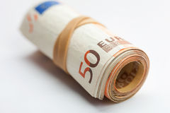 Roll of euro banknotes Stock Photos