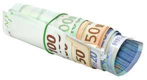 Roll of euro banknotes Royalty Free Stock Photos