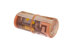 Roll of 50 euro bills Stock Photos