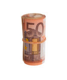 Roll of 50 euro bills Stock Photography