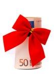 Roll of Euro money stock image