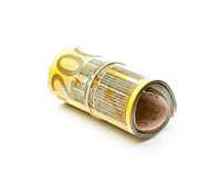 Roll of euro money. On white background Royalty Free Stock Images