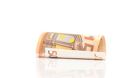 Roll of 50 Euro paper bills Royalty Free Stock Image