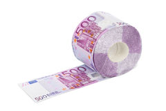 Roll of euro toilet paper Stock Images