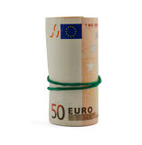 Roll of fifty euro banknotes isolated on white Royalty Free Stock Photos