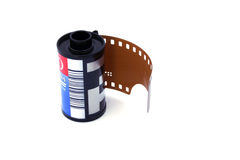 A roll of film. Photographed on white background Stock Photos