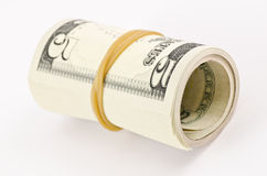 Roll of five dollars royalty free stock photography