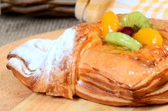 Roll from flaky pastry with fruit Royalty Free Stock Photography