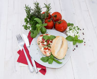 Roll with fresh Mozzarella Creme Royalty Free Stock Images