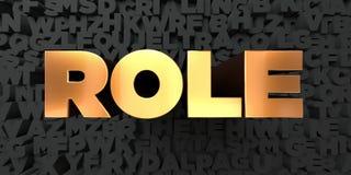 Roll - guld- text på svart bakgrund - 3D framförd fri materielbild för royalty Royaltyfri Foto
