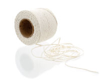 Roll of hemp string isolated on white Royalty Free Stock Photography