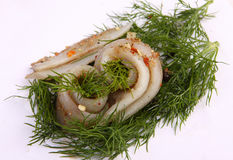 Roll with herring.Herring on pertse.esklyuziv dish of ryby.File capelin. Preservation of Herring. Stock Images