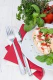 Roll with homemade Mozzarella Creme Royalty Free Stock Photos