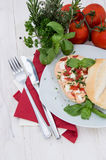 Roll with homemade Mozzarella Creme Royalty Free Stock Photo