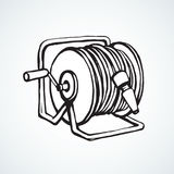 Roll the hose. Vector drawing. Conduit pvc pipeline pressure tap on broadband spool wheel bundle on white backdrop. Freehand line black ink hand drawn logo Stock Photography