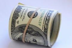 Roll of hundred dollar bills. Close up of roll of hundred dollar bills Royalty Free Stock Photography