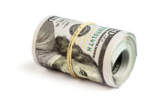 Roll of  hundred dollar bills isolated Royalty Free Stock Photos