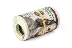 Roll of  hundred dollar bills isolated Royalty Free Stock Images