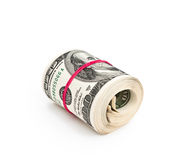 Roll of hundred dollars Royalty Free Stock Photo