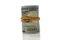 Roll Of Hundred Dollars Bills Stock Image