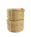Roll of jute rope isolated on white Royalty Free Stock Images