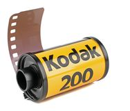 A roll of Kodak 35mm camera film. NIEDERSACHSEN, GERMANY MAY 30, 2018 : A roll of Kodak Gold 200 35mm analogue camera film on a white background stock photo