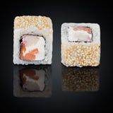 Roll Koons, smoked salmon, avocado, sesame, cream cheese Royalty Free Stock Photos