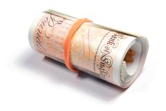 Role of New Ten Pound Notes. Roll of latest edition uk plastic ten pound notes Stock Photos
