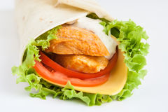 Roll from lavash with chicken Royalty Free Stock Photo