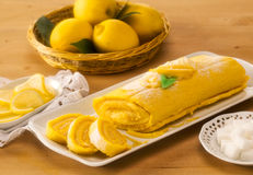 Roll lemon cake Royalty Free Stock Photo