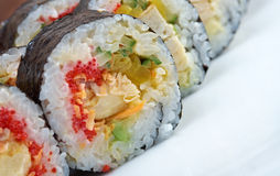 Roll made with chicken, eggs and vegetables Stock Image