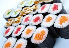 Roll made salmon, eel, tuna, vegetables Royalty Free Stock Images