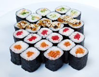 Roll made salmon, eel, tuna, vegetables Stock Photography