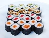 Roll made salmon, eel, tuna, vegetables Stock Photography