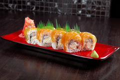Roll made of salmon Stock Photo