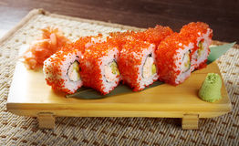 Roll made of Smoked fish and red roe Royalty Free Stock Images