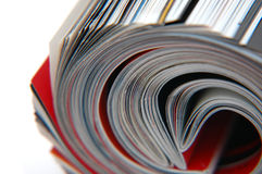 Roll of Magazine Closeup. Closeup of magazine roll together (Shallow DOF stock photography