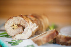 Roll meat with mushrooms Stock Photo