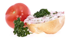 Roll with meat salad isolated on white Stock Image